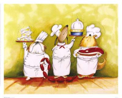 a picture of dogs acting as chefs and waiters