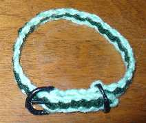 Woven braided small dog collar in light and dark green.