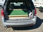DIY folding dog ramp in the back of a small SUV