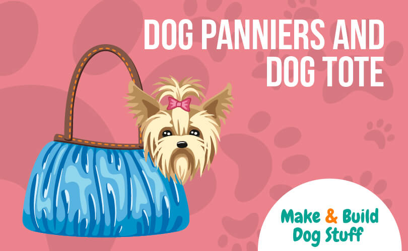 An animated picture of a small dog being carried in a tote with text that reads dog panniers and dog tote with the website name on the image.