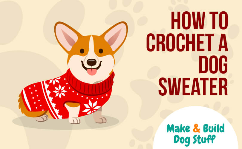 An animated picture of a dog wearing a sweater. Text on the image reads how to crochet a dog sweater. The site title is on the image.
