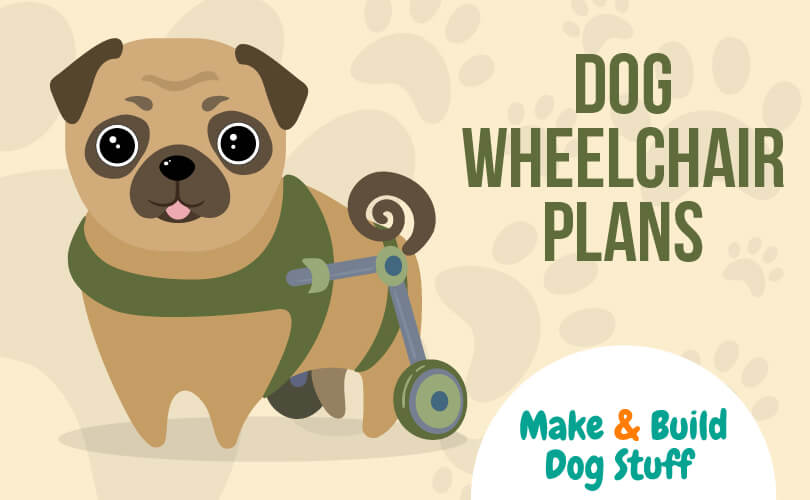 An animated picture of a small brown dog in a wheelchair. The text reads dog wheelchair plans.