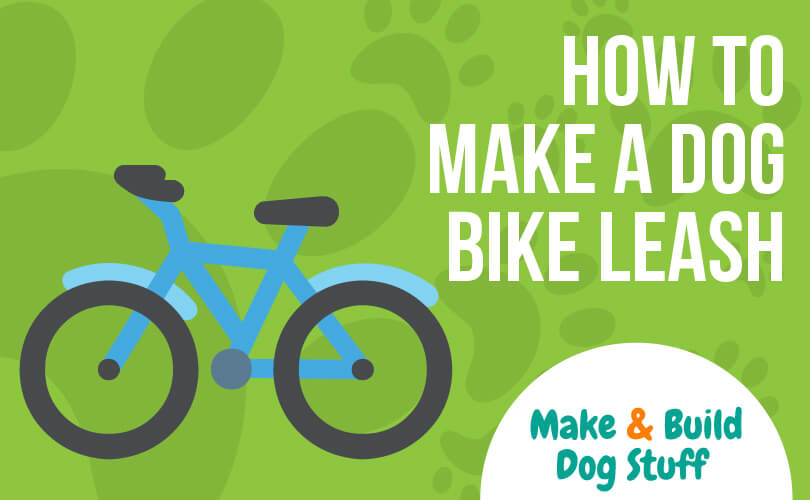 An animated picture of a bicycle. The text on the image reads how to make a dog bike leash. The site title is on the image.