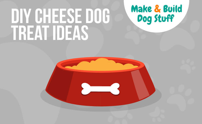 An animated picture of a dog bowl with a bone on it. The text on the image reads DIY cheese dog treat ideas. The image has the site title on it.