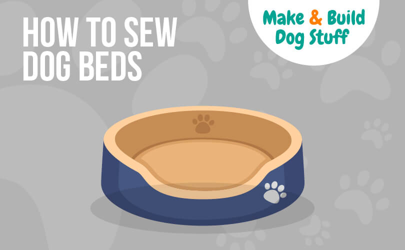 An animated picture of a dog bed with a footprint on it. Text reads how to sew dog beds.
