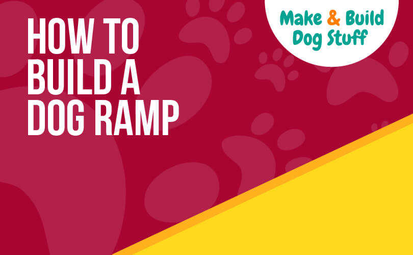 An animated picture of an incline representing a ramp. Text reads how to build a dog ramp and the website name is on the image.