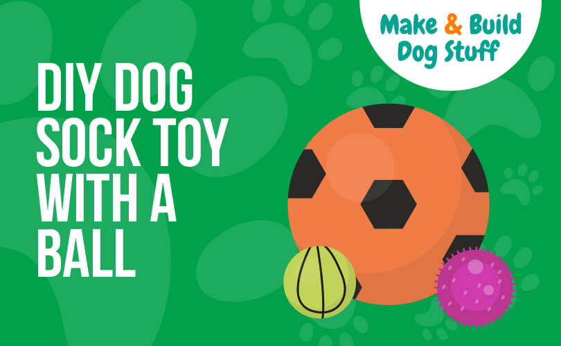 An animated picture of three balls. The text reads DIY dog sock toy with a ball. The site title is on the image.