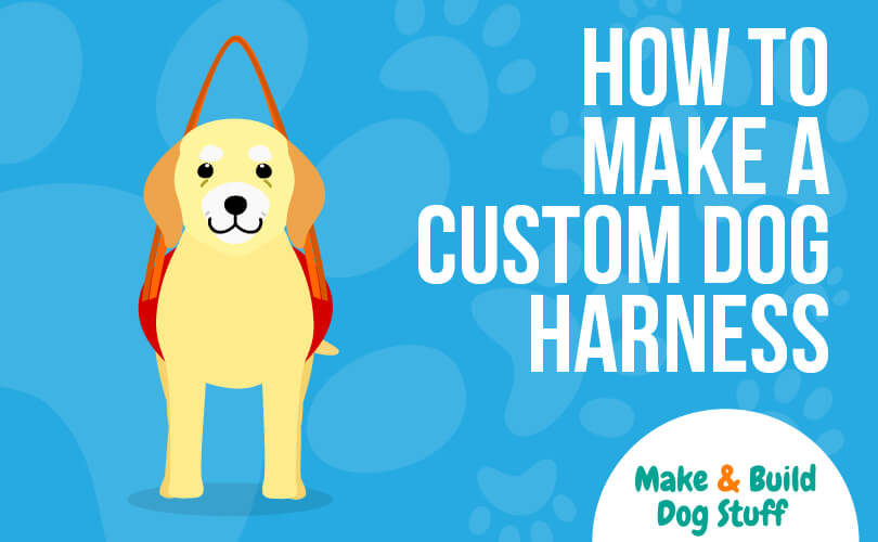 An animated picture of a dog with a harness. The text reads how to make a custom dog harness. The site title is on the image.