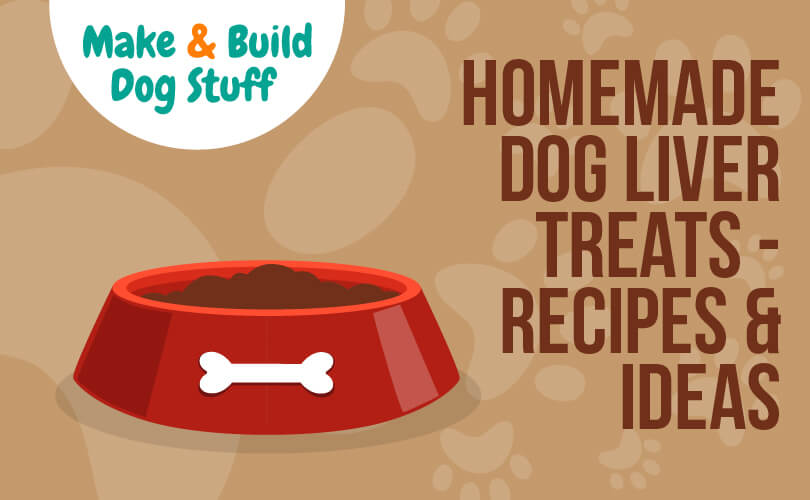 An animated picture of a dog bowl with food in it. Text on the image reads homemade dog liver treats - recipes & ideas. The image has the site name on it.