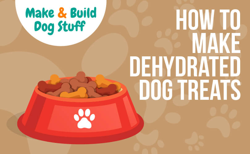An animated picture of a dog bowl with a paw print on it. The text on the image reads how to make dehydrated dog treats. The site title is on the image.