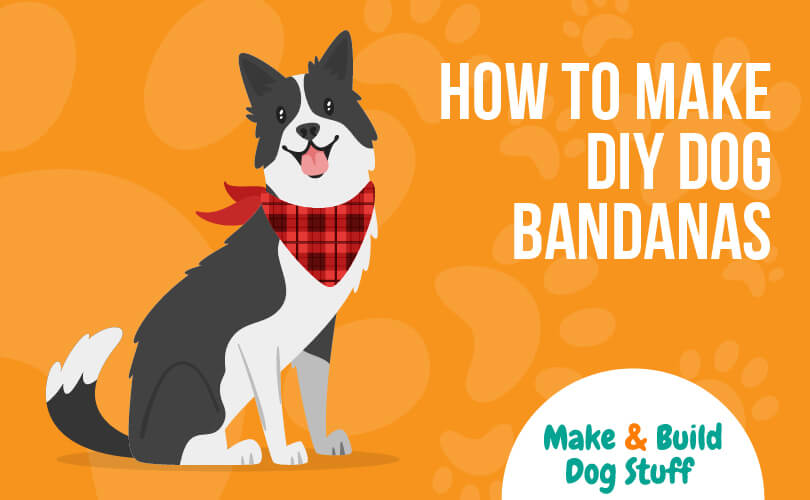 An animated picture of a dog wearing a red bandana. The text reads how to make DIY dog bandanas. The site title is on the image.
