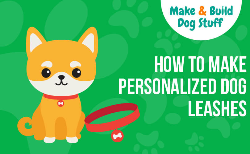 An animated picture of a small dog with a red collar sitting next to him. Text reads how to make personalized dog leashes.