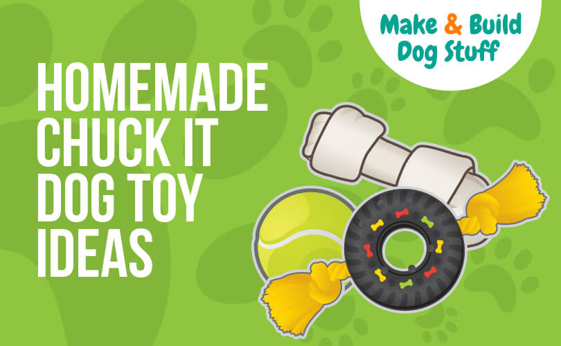 An animated picture of dog toys with a green background. The text reads homemade chuck it dog toy ideas.