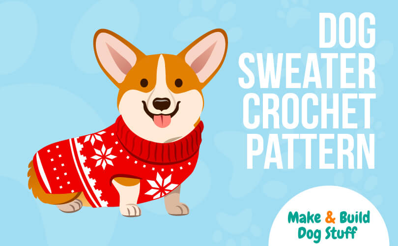 An animated picture of a small dog with point ears wearing a red sweater. The text reads dog sweater crochet pattern.