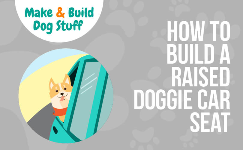 An animated picture of a dog with his head hanging out a car window with wind blowing in his face. Text reads how to build a raised doggie car seat.