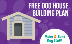 An animated picture of a dog house with a purple background. Text reads free dog house building plan.