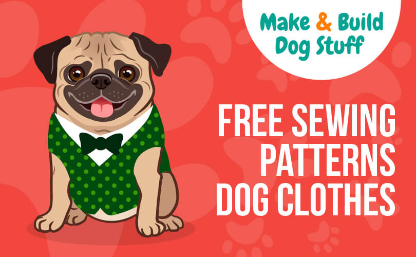An animated picture of a pug wearing a vest and a bowtie. Text reads free sewing patterns dog clothes.