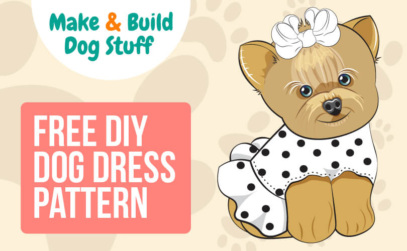 An animated picture of a dog wearing a white dress with polka dots and a bowtie on her head. Text reads free DIY dog dress pattern.