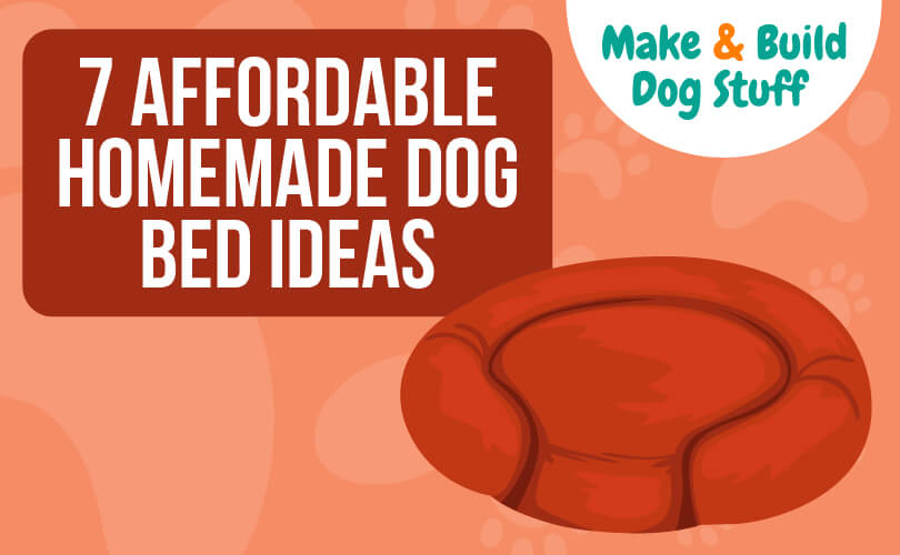 An animated picture of a red dog bed. Text reads 7 affordable homemade dog bed ideas.