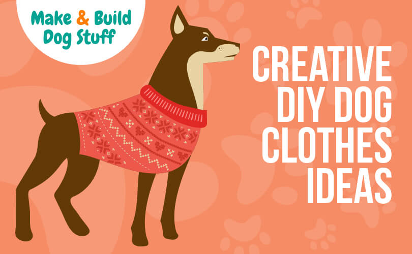 An animated picture of a large dog wearing a read vest or sweater. Text reads creative DIY dog clothes ideas.