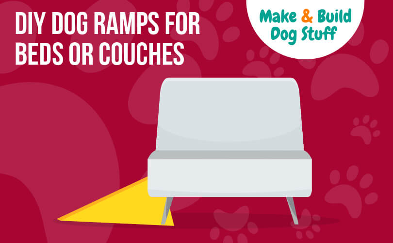 A animated picture of a dog ramp going to a couch