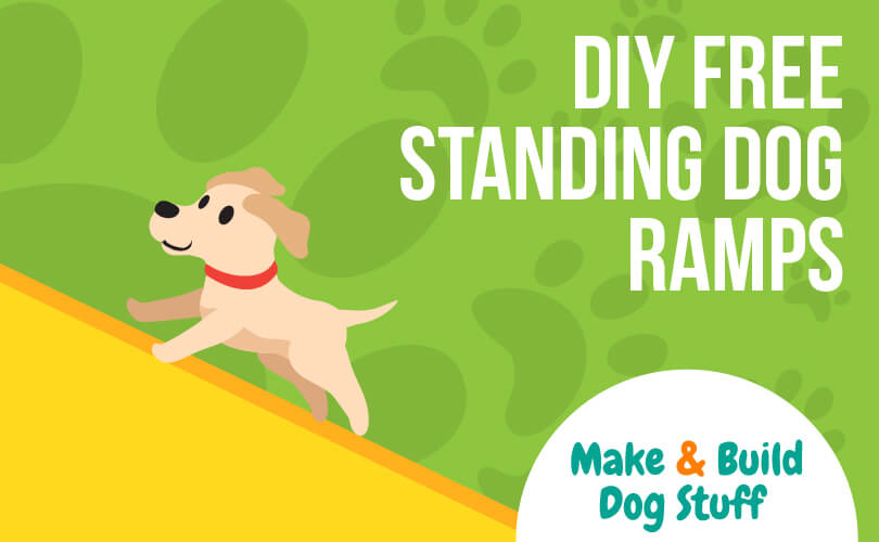 An animated picture of a dog running up a ramp. Text reads DIY free standing dog ramps.