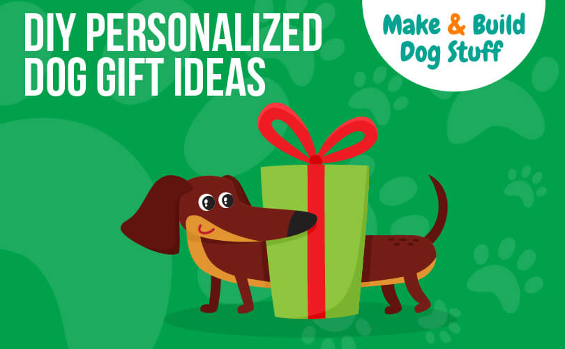 An animated picture of a wiener dog standing behind a large green present with a red bow tie. Text reads DIY personalized dog gift ideas.