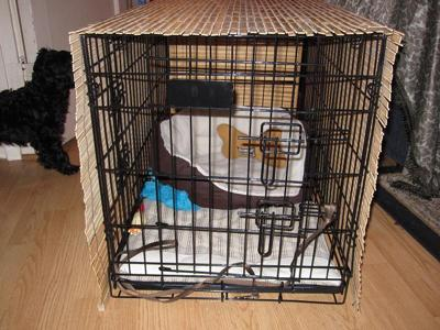 The open front of the dog crate with blind crate cover