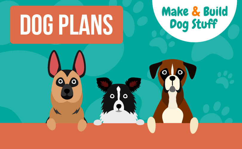 An animated picture of three dogs with their paws resting on a brown bar going across the image. The dogs are all looking at you. Text reads dog plans.