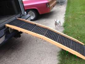 A DIY pet ramp going into a vehicle