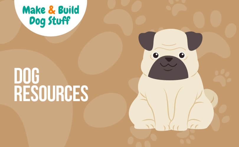 An animated picture of a pug sitting. Text reads dog resources.
