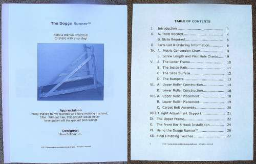 An image of the dog blueprints table of contents.