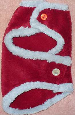 A fleece dog coat
