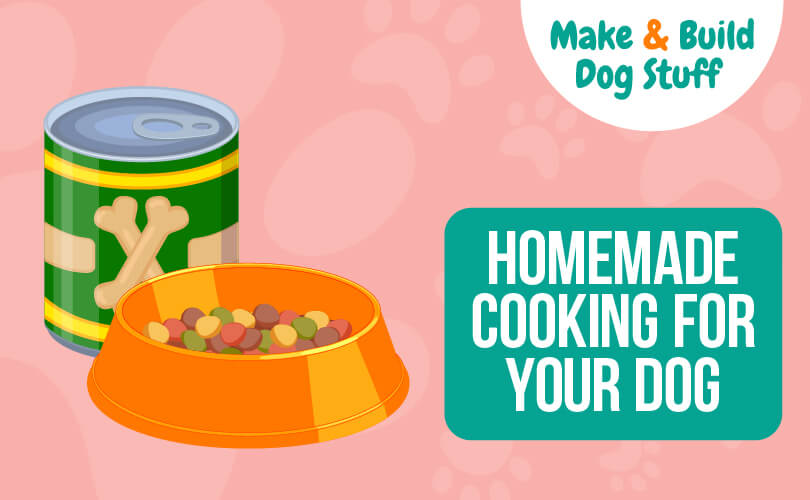 An animated picture of a dog bowl with dog food in it and a can sitting behind it. Text reads homemade cooking for your dog.