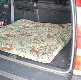 An old style sleeping bag, folded to fit and sewn along the edges, makes a durable dog bed