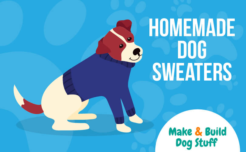 An animated picture of a beagle wearing a blue sweater. Text reads homemade dog sweaters.