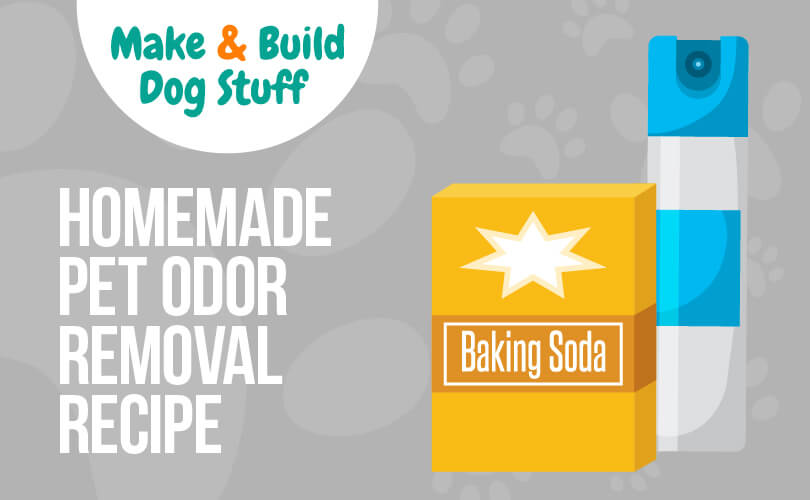 An animated picture of a box of baking soda and what appears to be a can of air freshener. Text reads homemade pet odor removal recipe.