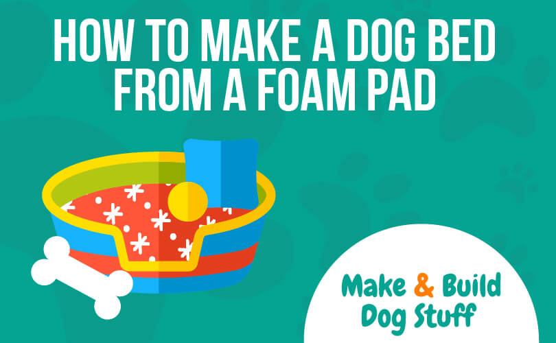 An animated picture of a dog bed with a bone and some balls next to it. The text reads how to make a dog bed from a foam pad.