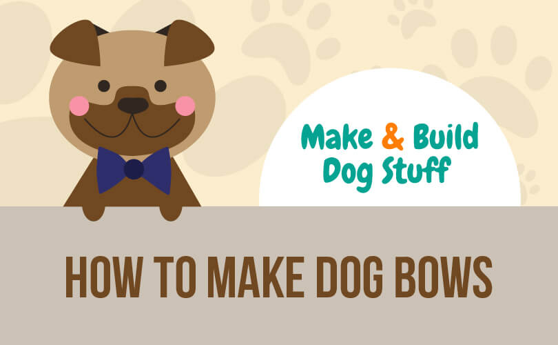 An animated picture of a brown dog wearing a black bow with pars on grey header going across the image. Text reads how to make dog bows.