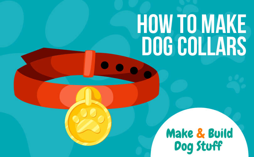 An animated picture of a red dog collar. Text reads how to make dog collars.
