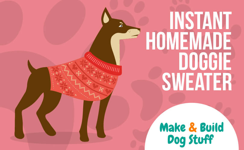 An animated picture of a dog wearing a homemade sweater