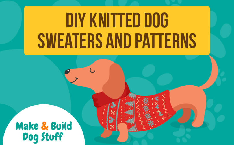 An animated picture of dog wearing a sweater made from a DIY sweater pattern