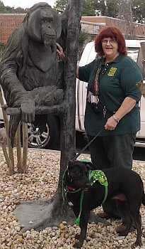 Vicki with her service dog.